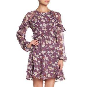 purple ruffle mini longsleeve dress